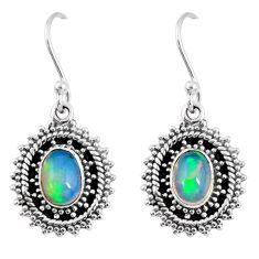 3.48cts natural multi color ethiopian opal 925 silver dangle earrings r55306