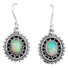 3.26cts natural multi color ethiopian opal 925 silver dangle earrings r55308