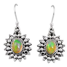 3.50cts natural multi color ethiopian opal 925 silver dangle earrings r55309