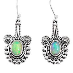 3.01cts natural multi color ethiopian opal 925 silver dangle earrings r55311