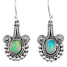 3.83cts natural multi color ethiopian opal 925 silver dangle earrings r55314