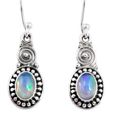 3.05cts natural multi color ethiopian opal 925 silver dangle earrings r55315