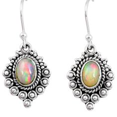 3.29cts natural multi color ethiopian opal 925 silver dangle earrings r55316