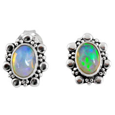 2.73cts natural multi color ethiopian opal 925 silver dangle earrings r55318
