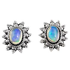 3.51cts natural multi color ethiopian opal 925 silver dangle earrings r55319