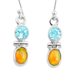 3.59cts natural multi color ethiopian opal 925 silver dangle earrings r72190