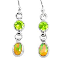 3.64cts natural multi color ethiopian opal 925 silver dangle earrings r72199