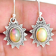 3.91cts natural multi color ethiopian opal 925 silver dangle earrings r75236