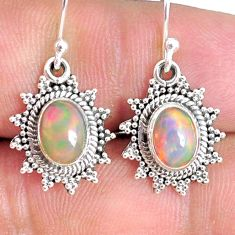 4.16cts natural multi color ethiopian opal 925 silver dangle earrings r75238