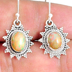 3.89cts natural multi color ethiopian opal 925 silver dangle earrings r75239