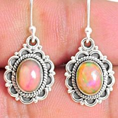 4.19cts natural multi color ethiopian opal 925 silver dangle earrings r75249