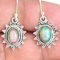 4.18cts natural multi color ethiopian opal 925 silver dangle earrings r75258