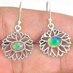 2.90cts natural multi color ethiopian opal 925 silver dangle earrings r76242