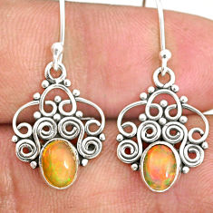 3.03cts natural multi color ethiopian opal 925 silver dangle earrings r84141