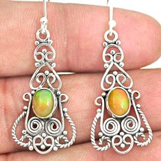 3.12cts natural multi color ethiopian opal 925 silver dangle earrings r84142
