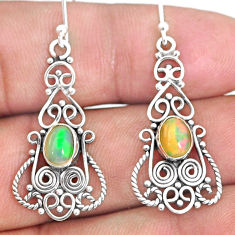 3.11cts natural multi color ethiopian opal 925 silver dangle earrings r84145
