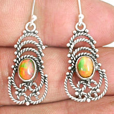 3.12cts natural multi color ethiopian opal 925 silver dangle earrings r84151