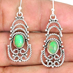 3.29cts natural multi color ethiopian opal 925 silver dangle earrings r84157