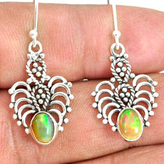3.00cts natural multi color ethiopian opal 925 silver dangle earrings r84161