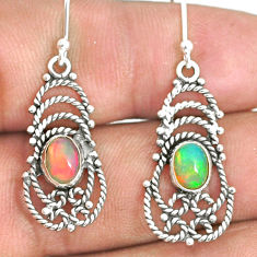 3.13cts natural multi color ethiopian opal 925 silver dangle earrings r84165