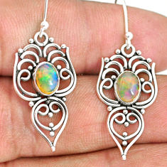 3.10cts natural multi color ethiopian opal 925 silver dangle earrings r84167