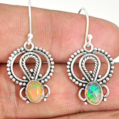 3.29cts natural multi color ethiopian opal 925 silver dangle earrings r84170