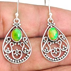 3.50cts natural multi color ethiopian opal 925 silver dangle earrings r84173