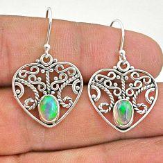 2.14cts natural multi color ethiopian opal 925 silver dangle earrings t28121