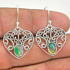 2.03cts natural multi color ethiopian opal 925 silver dangle earrings t28122