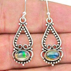 2.61cts natural multi color ethiopian opal 925 silver dangle earrings t28141