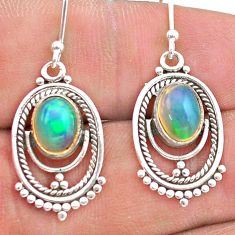 4.18cts natural multi color ethiopian opal 925 silver dangle earrings t28247