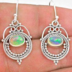 2.90cts natural multi color ethiopian opal 925 silver dangle earrings t28262