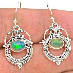 2.74cts natural multi color ethiopian opal 925 silver dangle earrings t28263