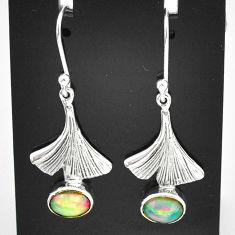 2.90cts natural multi color ethiopian opal 925 silver dangle earrings t5924