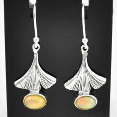 2.78cts natural multi color ethiopian opal 925 silver dangle earrings t5927