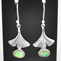 2.78cts natural multi color ethiopian opal 925 silver dangle earrings t5928