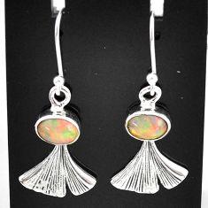3.11cts natural multi color ethiopian opal 925 silver dangle earrings t5930