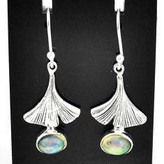 3.30cts natural multi color ethiopian opal 925 silver dangle earrings t5954