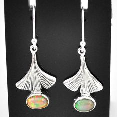3.13cts natural multi color ethiopian opal 925 silver dangle earrings t5955