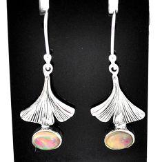 3.30cts natural multi color ethiopian opal 925 silver dangle earrings t5958
