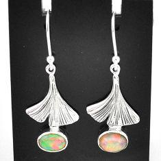 2.89cts natural multi color ethiopian opal 925 silver dangle earrings t5960