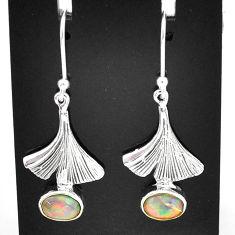 3.12cts natural multi color ethiopian opal 925 silver dangle earrings t5962
