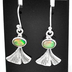 3.28cts natural multi color ethiopian opal 925 silver dangle earrings t5965