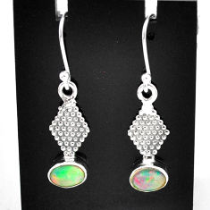 2.89cts natural multi color ethiopian opal 925 silver dangle earrings t5966