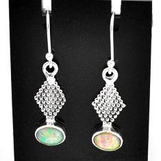 3.05cts natural multi color ethiopian opal 925 silver dangle earrings t5981