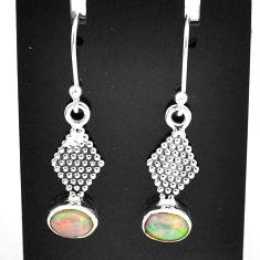 3.09cts natural multi color ethiopian opal 925 silver dangle earrings t5982