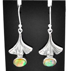 3.29cts natural multi color ethiopian opal 925 silver dangle earrings t5990