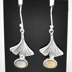 3.13cts natural multi color ethiopian opal 925 silver dangle earrings t5991