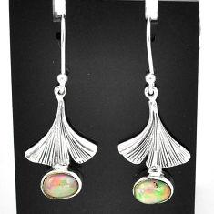 3.08cts natural multi color ethiopian opal 925 silver dangle earrings t5992