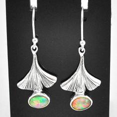 3.50cts natural multi color ethiopian opal 925 silver dangle earrings t5994